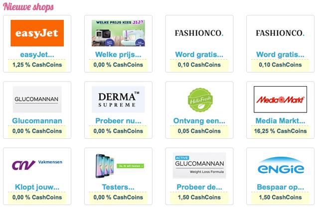 Nieuwe webshops LadyCashback.nl
